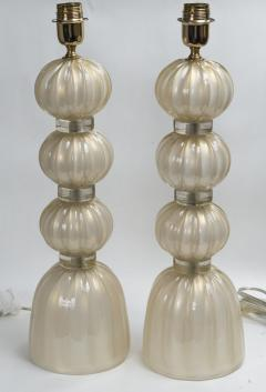 Pair of Murano Opaline Gold Lamps contemporary - 1184414