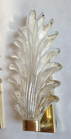 Pair of Murano clear glass brass leaf sconces Mid Century Modern 1970s - 1338327