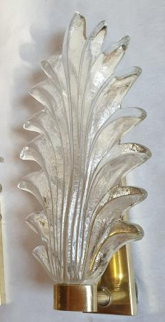 Pair of Murano clear glass brass leaf sconces Mid Century Modern 1970s - 1338329