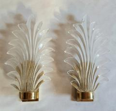 Pair of Murano clear glass brass leaf sconces Mid Century Modern 1970s - 1338330