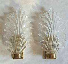 Pair of Murano clear glass brass leaf sconces Mid Century Modern 1970s - 1338331