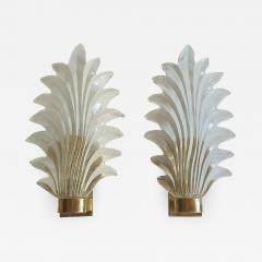 Pair of Murano clear glass brass leaf sconces Mid Century Modern 1970s - 1339759