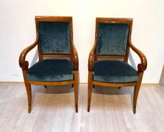 Pair of Neoclassical Armchairs Walnut Solid Green Velvet France circa 1830 - 1612306