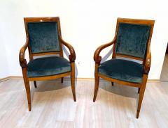 Pair of Neoclassical Armchairs Walnut Solid Green Velvet France circa 1830 - 1614255
