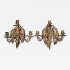 Pair of Neoclassical Revival Five candle Girandoles Astor Provenance - 1873626