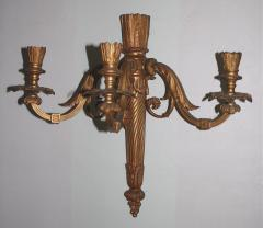 Pair of Neoclassical Revival Three candle Sconces Astor Provenance - 1867691