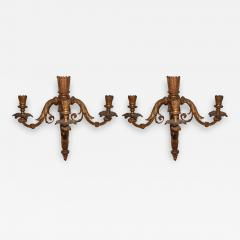 Pair of Neoclassical Revival Three candle Sconces Astor Provenance - 1873628