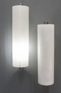 Pair of Nickeled Bronze and Alabaster Wall Sconces - 976486