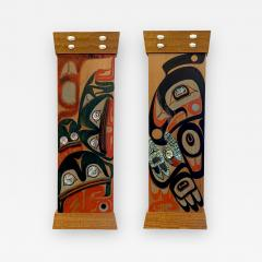 Pair of Northwest Coast Native Carved and Painted Cedar Panels - 1883270