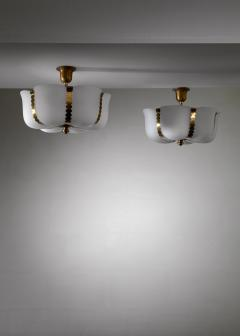 Pair of Opaline and brass flush mounts or pendants Sweden - 1032495