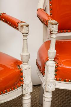 Pair of Orange Directoire Style Chairs - 1311111