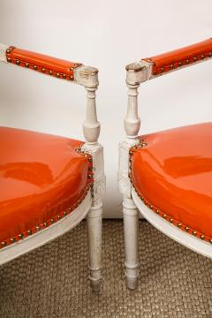 Pair of Orange Directoire Style Chairs - 1311113