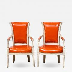 Pair of Orange Directoire Style Chairs - 1312961