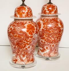 Pair of Orange and White Ceramic Lamps - 1311006