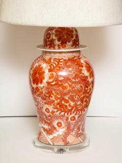 Pair of Orange and White Ceramic Lamps - 1311008