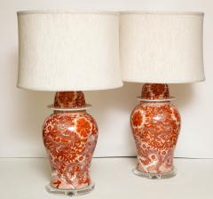 Pair of Orange and White Ceramic Lamps - 1311010