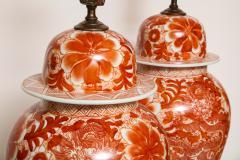 Pair of Orange and White Ceramic Lamps - 1311012
