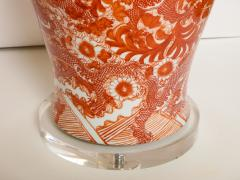 Pair of Orange and White Ceramic Lamps - 1311014