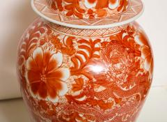 Pair of Orange and White Ceramic Lamps - 1311015