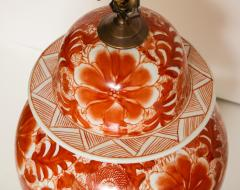 Pair of Orange and White Ceramic Lamps - 1311016