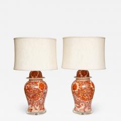 Pair of Orange and White Ceramic Lamps - 1338701