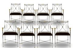 Pair of Outstanding Italian Steel and Brass Armchairs 1970s - 1783816