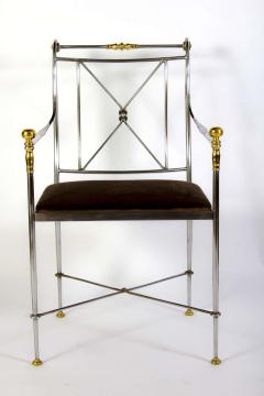 Pair of Outstanding Italian Steel and Brass Armchairs 1970s - 1783817