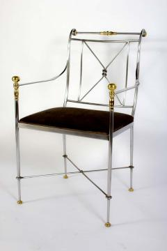 Pair of Outstanding Italian Steel and Brass Armchairs 1970s - 1783818