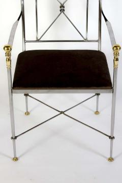 Pair of Outstanding Italian Steel and Brass Armchairs 1970s - 1783819