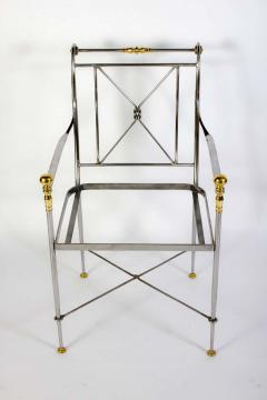 Pair of Outstanding Italian Steel and Brass Armchairs 1970s - 1783825