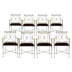 Pair of Outstanding Italian Steel and Brass Armchairs 1970s - 1783833