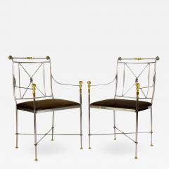 Pair of Outstanding Italian Steel and Brass Armchairs 1970s - 1785394