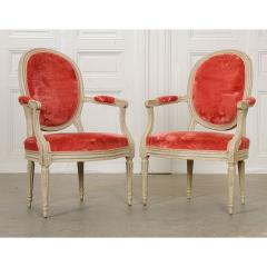 Pair of Painted French 19th Century Louis XVI Style Fauteuils - 1794776