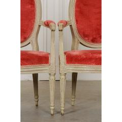Pair of Painted French 19th Century Louis XVI Style Fauteuils - 1794777