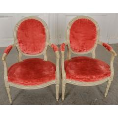 Pair of Painted French 19th Century Louis XVI Style Fauteuils - 1794781