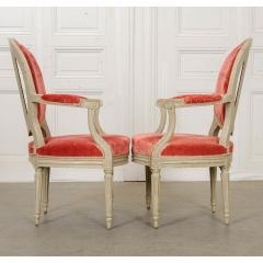 Pair of Painted French 19th Century Louis XVI Style Fauteuils - 1794795