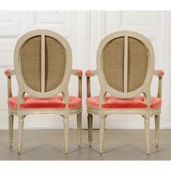 Pair of Painted French 19th Century Louis XVI Style Fauteuils - 1794801