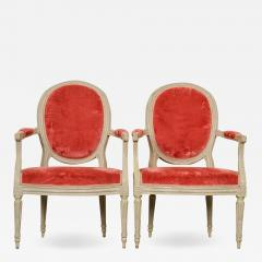 Pair of Painted French 19th Century Louis XVI Style Fauteuils - 1815930