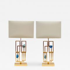Pair of Painted Lamps and Slag Glass Decors - 844633