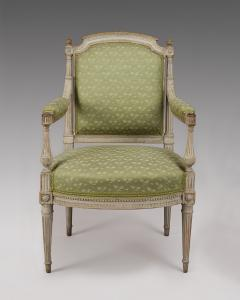 Pair of Painted Louis XVI Armchairs Fauteuils  - 119812