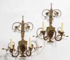 Pair of Painted Tole 2 Light Sconces - 1710454