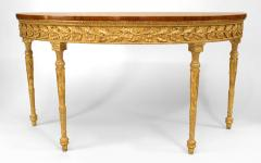 Pair of Pair of English Georgian Satinwood Demilune Console Table - 1427568
