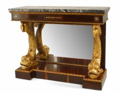 Pair of Pair of English Regency Rosewood Gilt Dolphin Console Table - 1427456