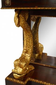 Pair of Pair of English Regency Rosewood Gilt Dolphin Console Table - 1427461