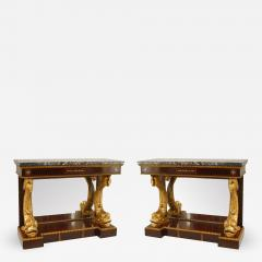 Pair of Pair of English Regency Rosewood Gilt Dolphin Console Table - 1430415