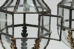 Pair of Patinated Brass Hanging Lanterns - 1166063