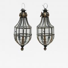 Pair of Patinated Brass Hanging Lanterns - 1166097