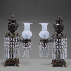 Pair of Patinated Bronze Argand Lamps - 37787