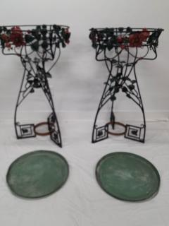 Pair of Period Art Nouveau Wrought iron Fernery Plant Stands - 1214851