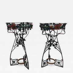 Pair of Period Art Nouveau Wrought iron Fernery Plant Stands - 1236988